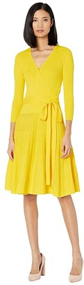 Lauren Ralph Lauren Cotton-Blend Surplice Dress (Dandelion Fields) Women's Clothing