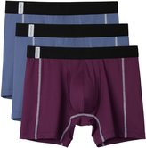 David Archy Men's 3 Pack CleanCool With Open Fly Boxer Briefs(S,Wine/2 Navy)
