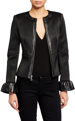 Alice + Olivia Jonie Leather Jacket w/ Ruffled Cuffs