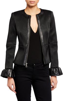 Alice + Olivia Jonie Leather Jacket w/ Ruffled Cuffs