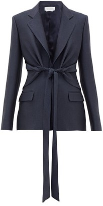 Gabriela Hearst Grant Knotted Wool-blend Pique Suit Jacket - Navy