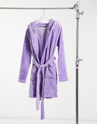 ASOS DESIGN super soft hooded mini robe in lilac