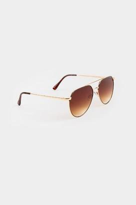 francesca's Mandy Aviator Sunglasses - Gold