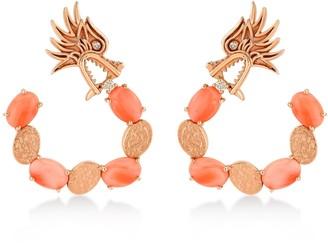 Dragon Optical Lady Coral Hoop Earrings