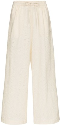 Marysia Swim Montauk embroidered cotton trousers