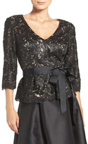 Eliza J Sequin Lace Peplum Top