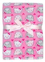 Baby Gear Plush Boa Ultra Soft Baby Girls Blanket 30 x 40 Pink Bears & Hearts by