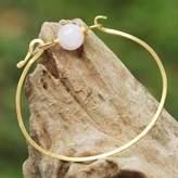 Gold Plated Rose Quartz Pendant Bracelet from Thailand, 'Always Lucky'