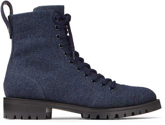 Jimmy Choo CRUZ FLAT Navy Flannel Combat Boots
