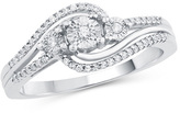 Zales 1/6 CT. T.W. Diamond Three Stone Swirl Ring in 10K White Gold