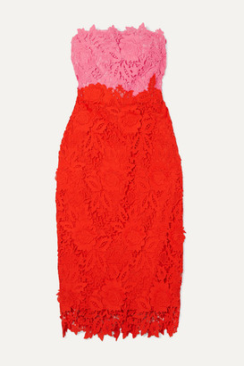 Lela Rose Strapless Two-tone Guipure Lace Midi Dress - Red