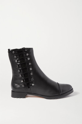 Alexandre Birman Izzie Lace-up Suede-trimmed Leather Ankle Boots - Black