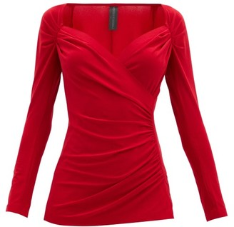 Norma Kamali Queen Anne-neckline Gathered Stretch-jersey Top - Red