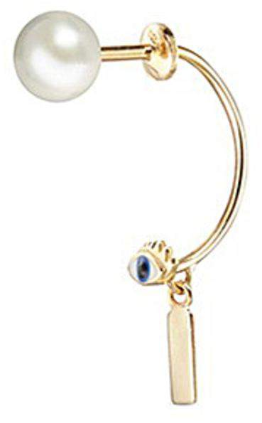 Delfina Delettrez 'ABC Micro Eye Piercing' freshwater pearl 18k yellow gold single earring - I