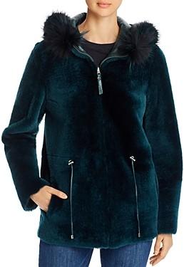 Maximilian Furs Reversible Lamb Shearling & Fox Fur Trim Hooded Jacket - 100% Exclusive