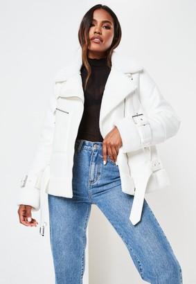 Missguided Premium White Zip Detail Aviator Jacket