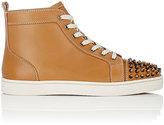 Christian Louboutin Men's Lou Spikes Flat Leather Sneakers-TAN