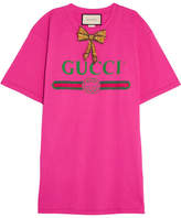 Gucci Embellished Printed Cotton-jersey T-shirt - Bright pink