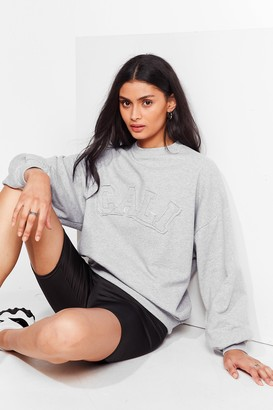 Nasty Gal Womens Back to Cali Embroidered Relaxed Sweatshirt - Grey - 4
