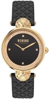 Versus By Versace Women's South Bay Black Leather Strap Watch 34mm