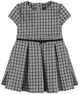Mayoral Short-Sleeve Pleated Check Dress, Gray/Navy, Size 3-6