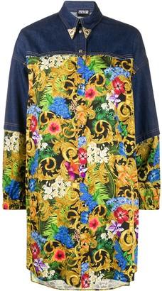 Versace Western-tip tropical-print denim shirt