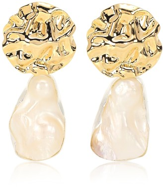 PEET DULLAERT Cova 14kt yellow and white gold-plated earrings with baroque pearl
