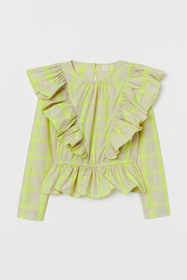 H&M Flounced Long-sleeved Blouse