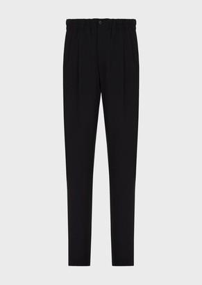 Giorgio Armani Wool Crepe Drawstring Trousers