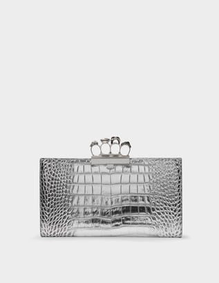 Alexander McQueen Skull Four Ring Clutch in Silver Embrossed Leather