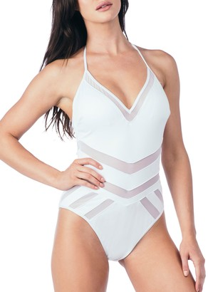Kenneth Cole New York Women's V-Neck Mesh Halter One Piece Swimsuit