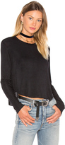 Bobi Draped Rib Long Sleeve Crop Top