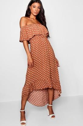 boohoo Woven Polka Dot Print Bardot Maxi Dress