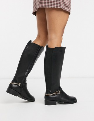 New Look knee boots with stretch panel in black