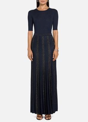 St. John Shimmer Plisse Jacquard Knit Skirt