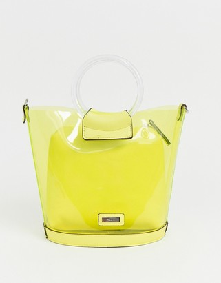 Aldo Miroang neon yellow clear tote bag with removable pouch