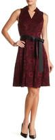 Robbie Bee Sleeveless V-Neck Waist Tie Lace Dress