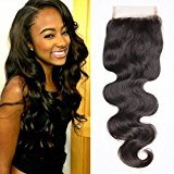 Connie Hair Body Wave 4x4 Free Part Lace Closure 20Inch Length 100% Unprocessed Virgin Brazilian Human Hair Lace Frontal Closure Natural Black Color