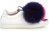 Joshua Sanders Fur-pompom leather trainers