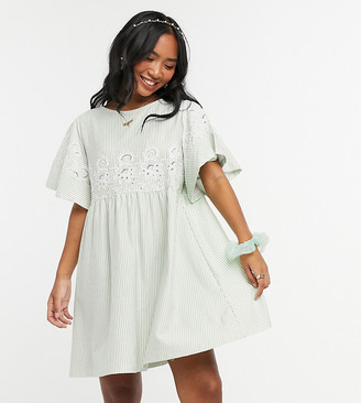 ASOS DESIGN Petite smock mini dress in stripe with embroidery detail in sage and white