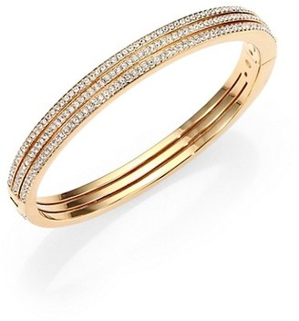 Adriana Orsini Goldtone Pave Crystal Three-Row Bangle Bracelet