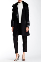 Via Spiga Novelty Faux Fur Collar Asymmetrical Zip Herringbone Coat