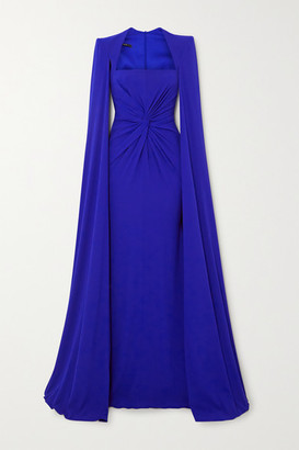Alex Perry Kennedy Cape-effect Twist-front Crepe Gown - Blue