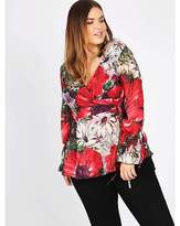 Koko red floral wrap over blouse