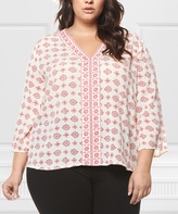 Red & White Arabesque V-Neck Top - Plus