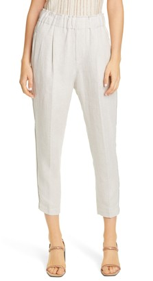 Brunello Cucinelli Monili Stripe Linen Pull-On Crop Pants