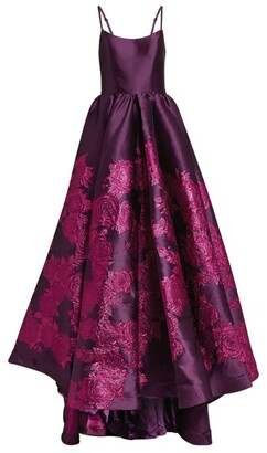 Jovani Brocade-Embellished Full Skirt Gown