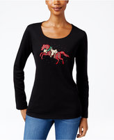 Karen Scott Holiday Horse Graphic Top, Only at Macy's