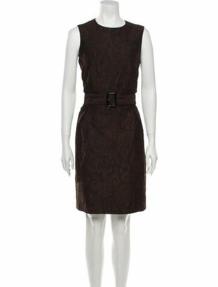 Burberry Lace Pattern Knee-Length Dress Brown