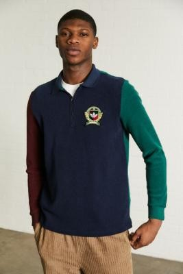 adidas Collegiate Crest Colour-Block Polo Shirt - Green S at Urban Outfitters